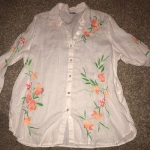 J. Jill • floral embroidered linen button down